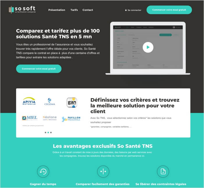 Capture de la landing page de So Soft